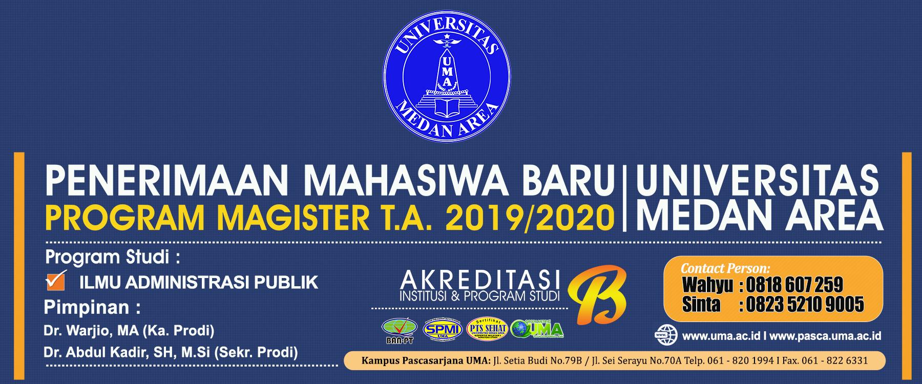 Pendaftaran Mahasiswa Baru Program Magister (S2) Ilmu Administrasi Publik 2019/2020