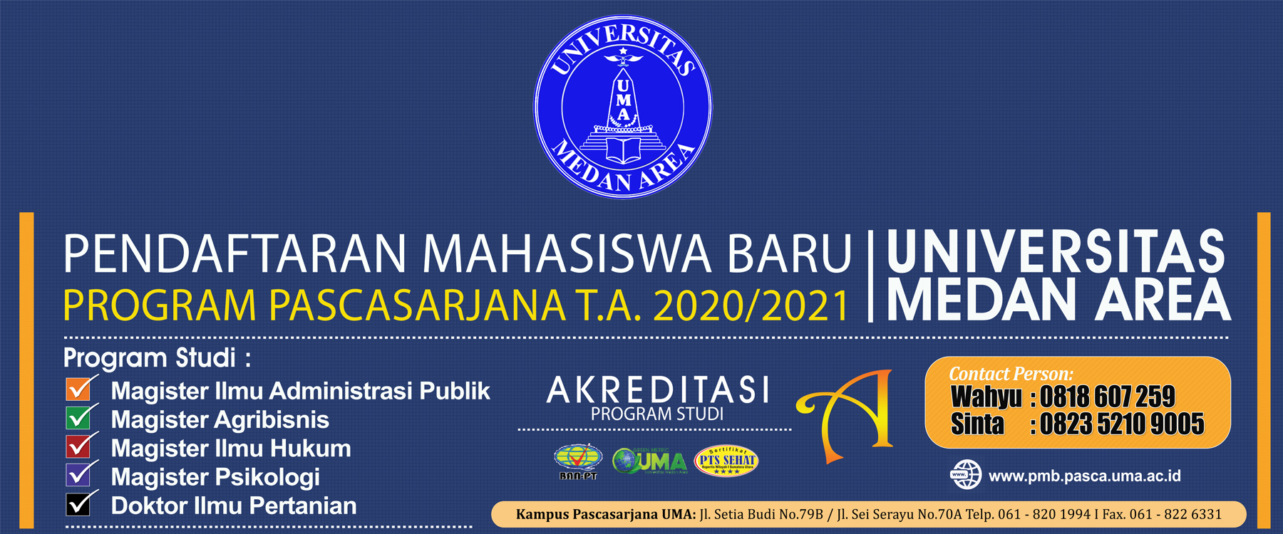 Slider PMB Program Pascasarjana Universitas Medan Area TA 2020-2021